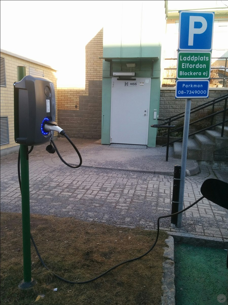 Two parking lots, one charging point.